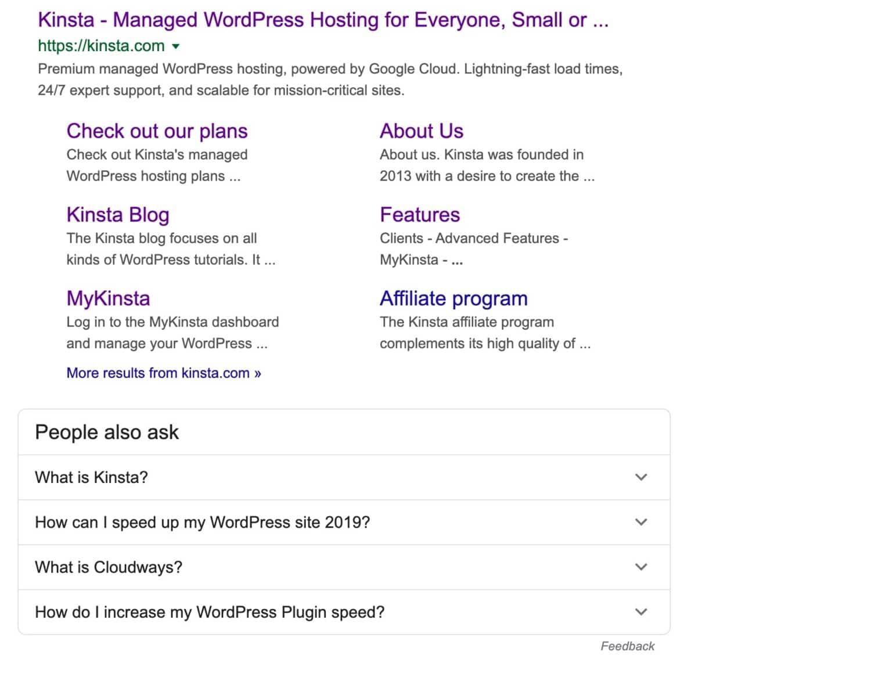 Kinsta Suchergebnisse