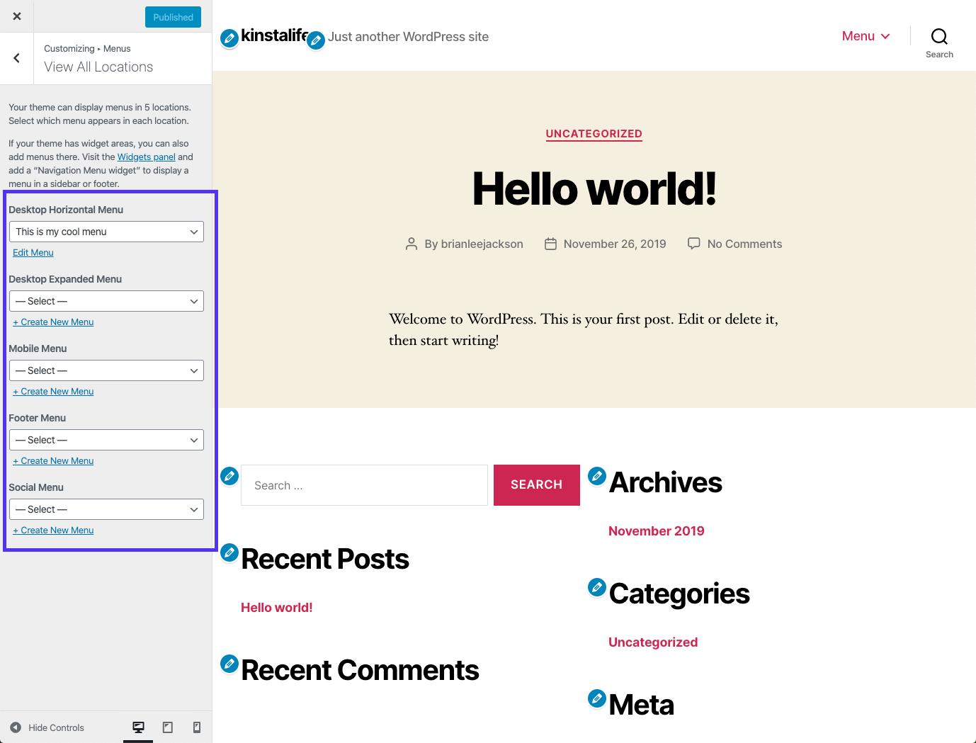 Eine Live-Vorschau für das WordPress-Menü im Customizer