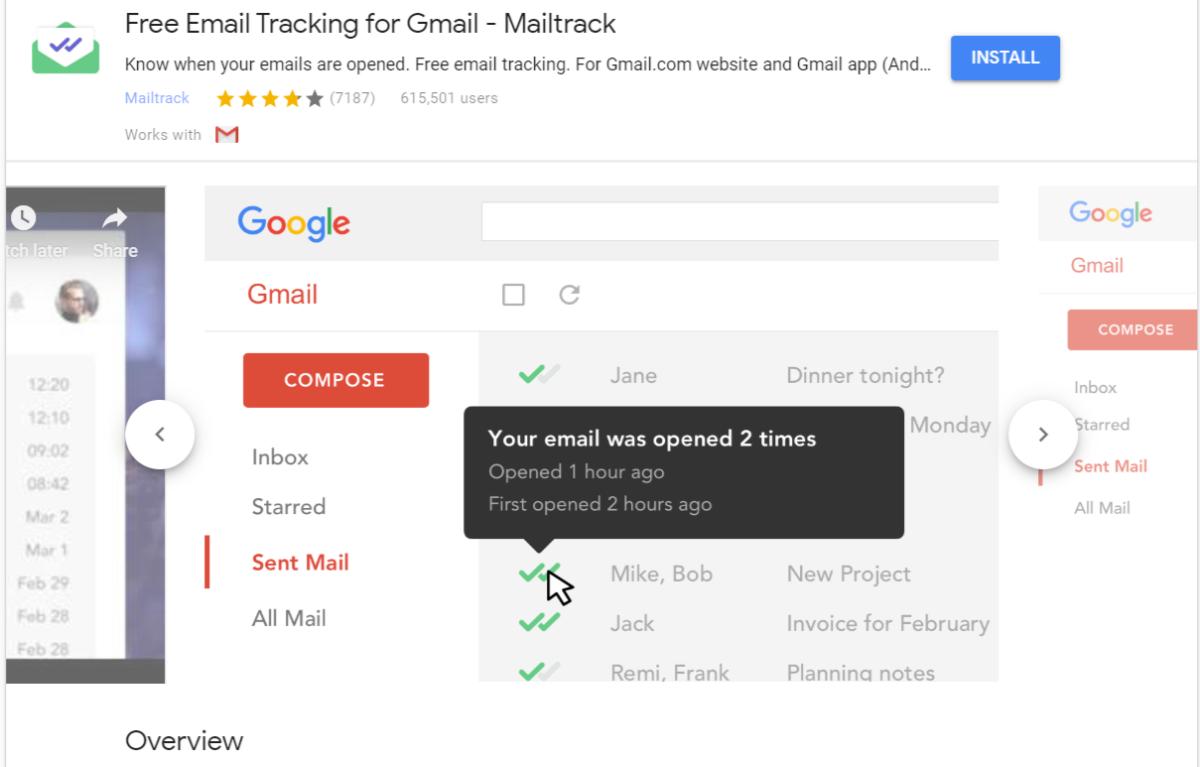 Mailtrack für Gmail-Erweiterung