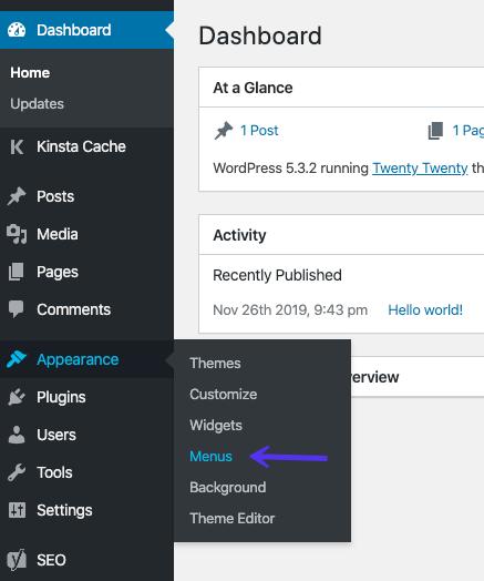Menü-Editor im WordPress-Dashboard