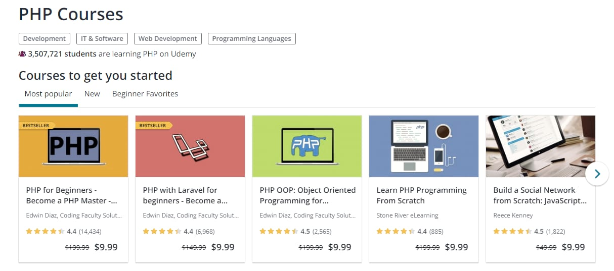 PHP-Tutorials auf Udemy
