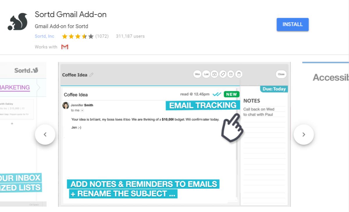 sortd gmail Add-on
