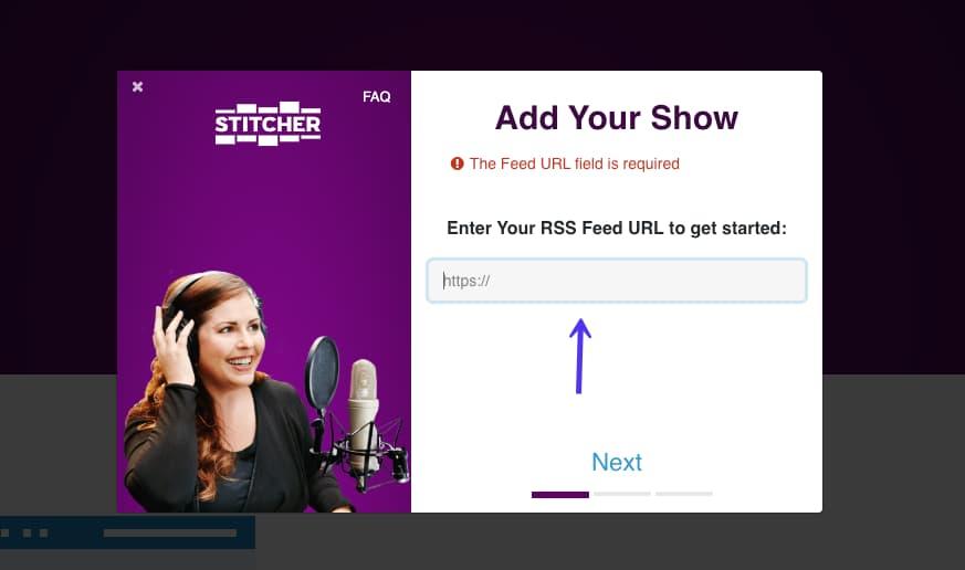 Senden des Podcasts an Stitcher