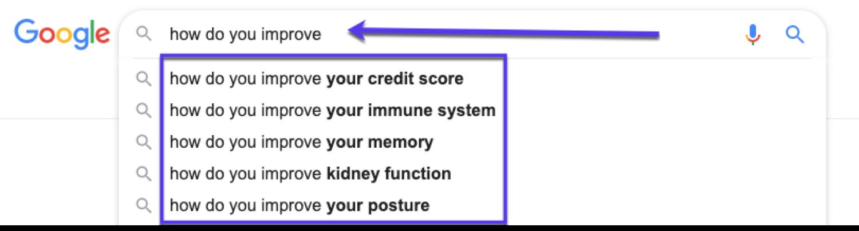 Verwendung der Google-Autovervollständigung für die Keyword-Recherche
