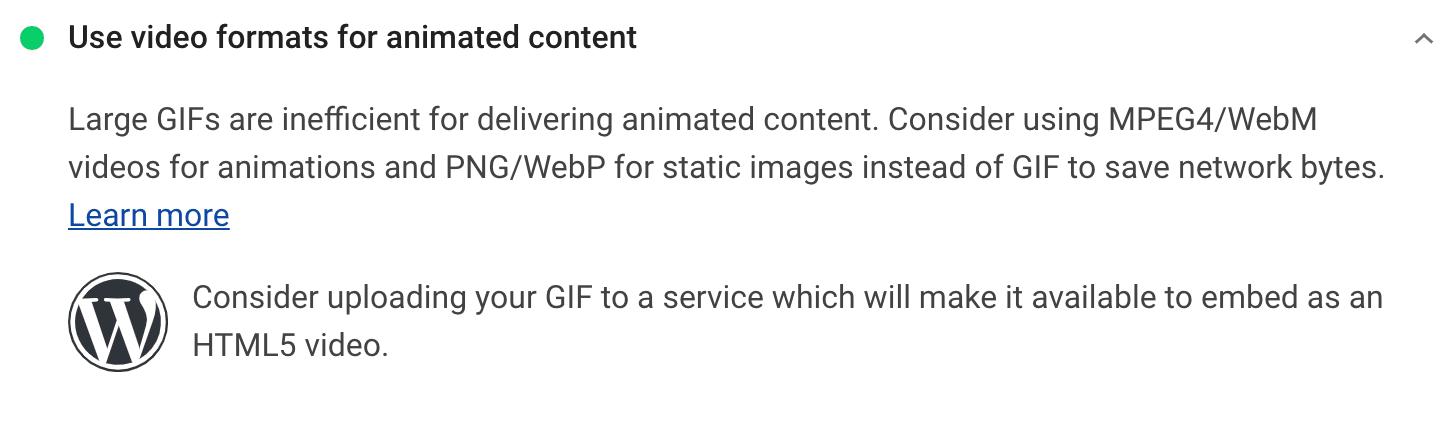 Verwendung von Videoformaten für die animierten Inhalte Empfehlung