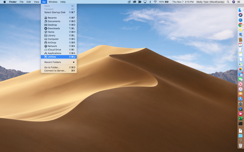 Zugang zu den Mac-Dienstprogrammen