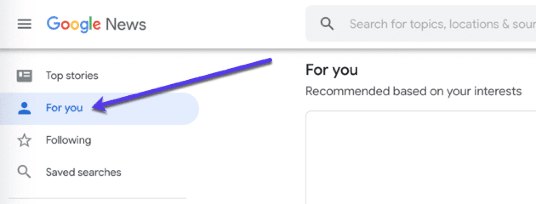Angepasste Newsfeeds in Google News.