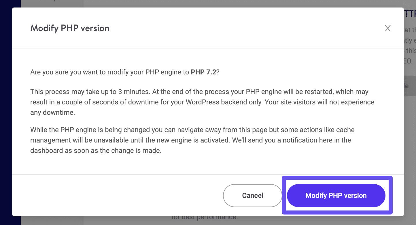 Bestätigung einer Herabstufung der PHP-Version