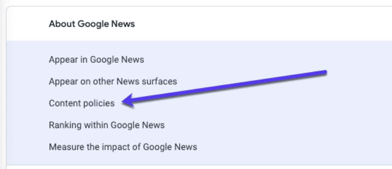 Google News-Richtlinien für die Veröffentlichung von Inhalten.