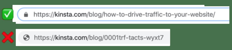 Eine gute (& beschreibende) URL im Vergleich zu einer chaotischen und verwirrenden.