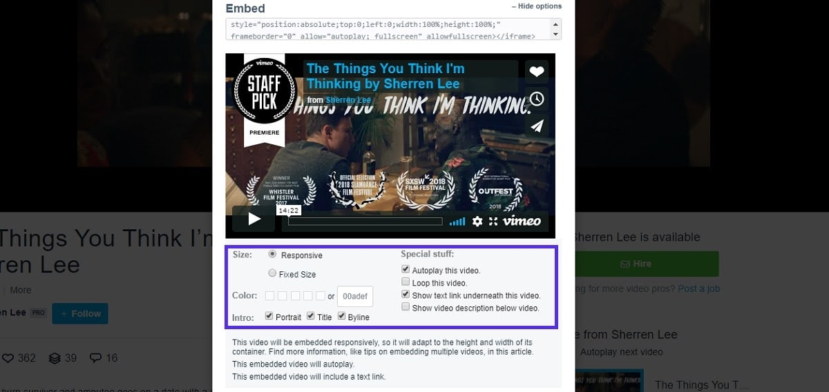 Optionen zur Einbettung in Vimeo