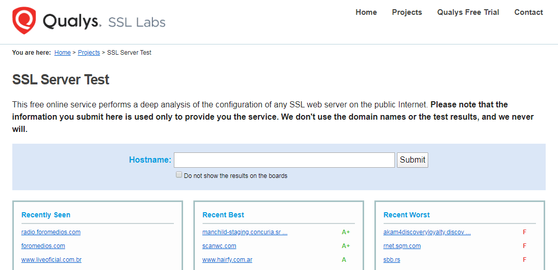 Das Qualys SSL-Server-Test-Tool