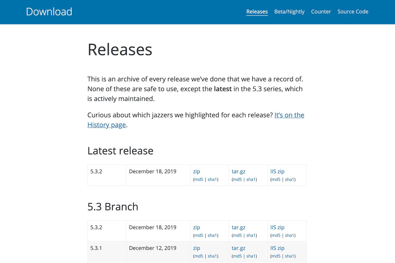 Das WordPress Release Archiv