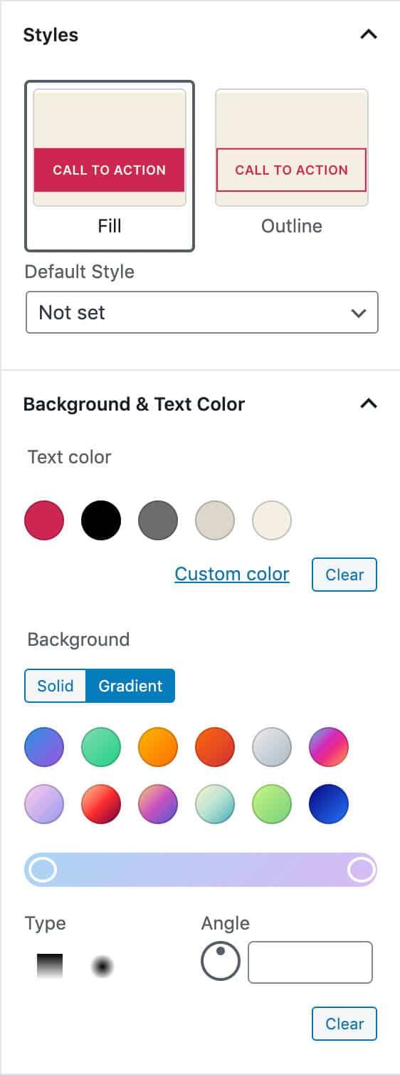 Button Einstellungen in WordPress 5.4