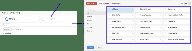 Hinzufügen vorgefertigter Segmente in Google Analytics