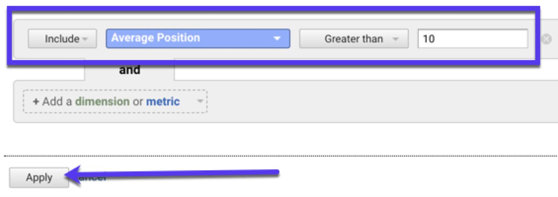 Filter nach 'durchschnittlicher Position' in Google Analytics, um Verbesserungsmöglichkeiten aufzudecken