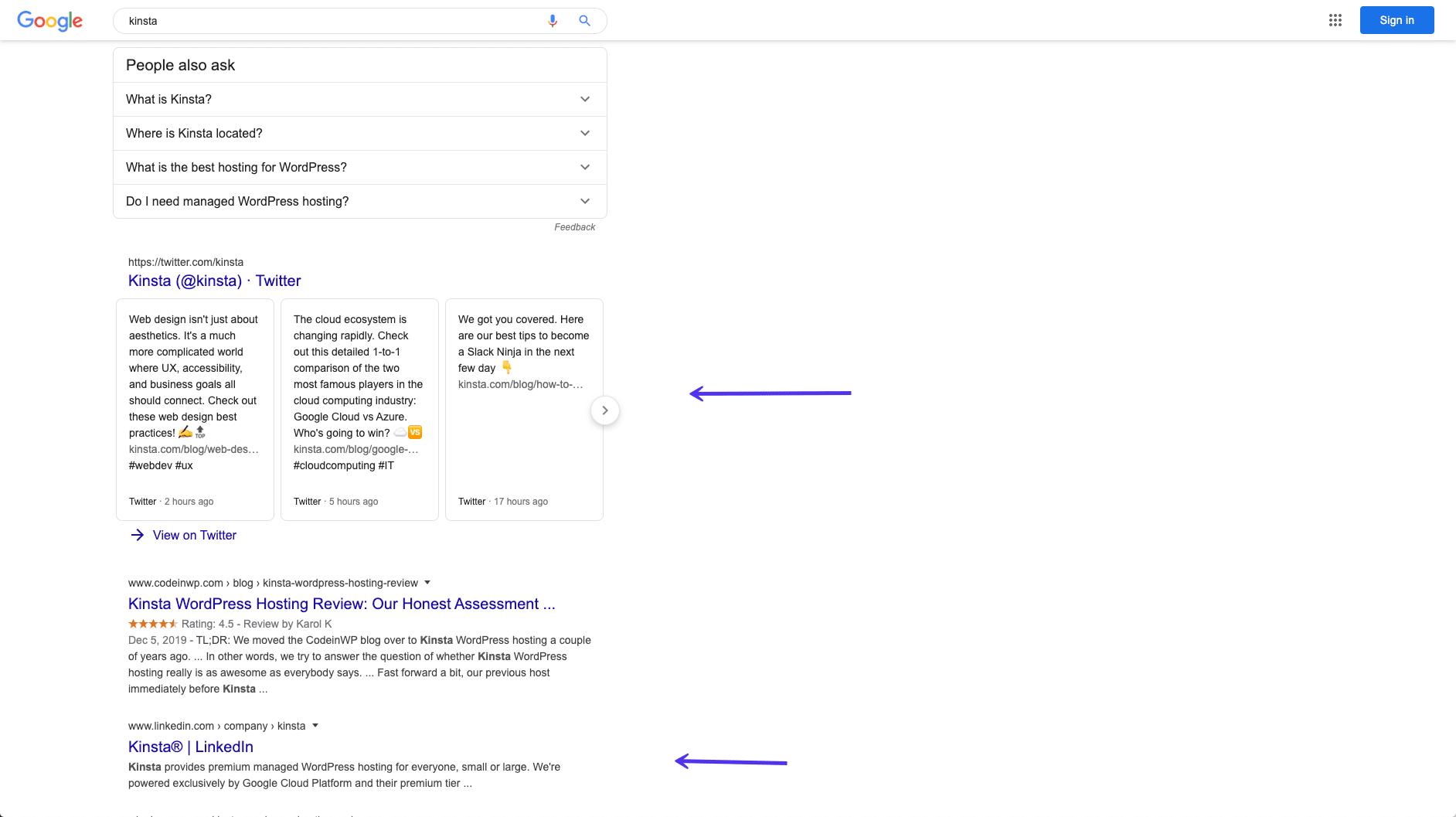 Rankings von Kinsta's Social-Media-Profilen in Google