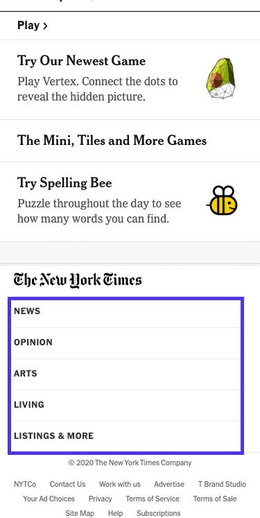 NYT-Artikel - Fußzeilenmenü ( Mobile)