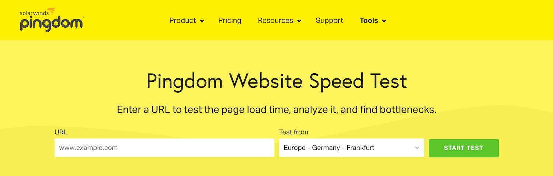 Der Geschwindigkeitstest der Pingdom-Webseite