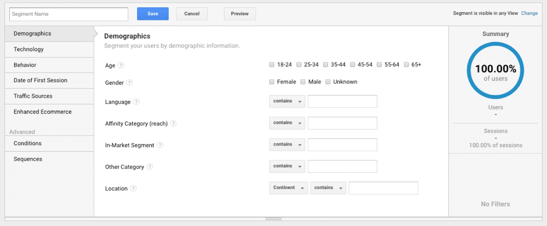 Segmentierung der Benutzer in Google Analytics