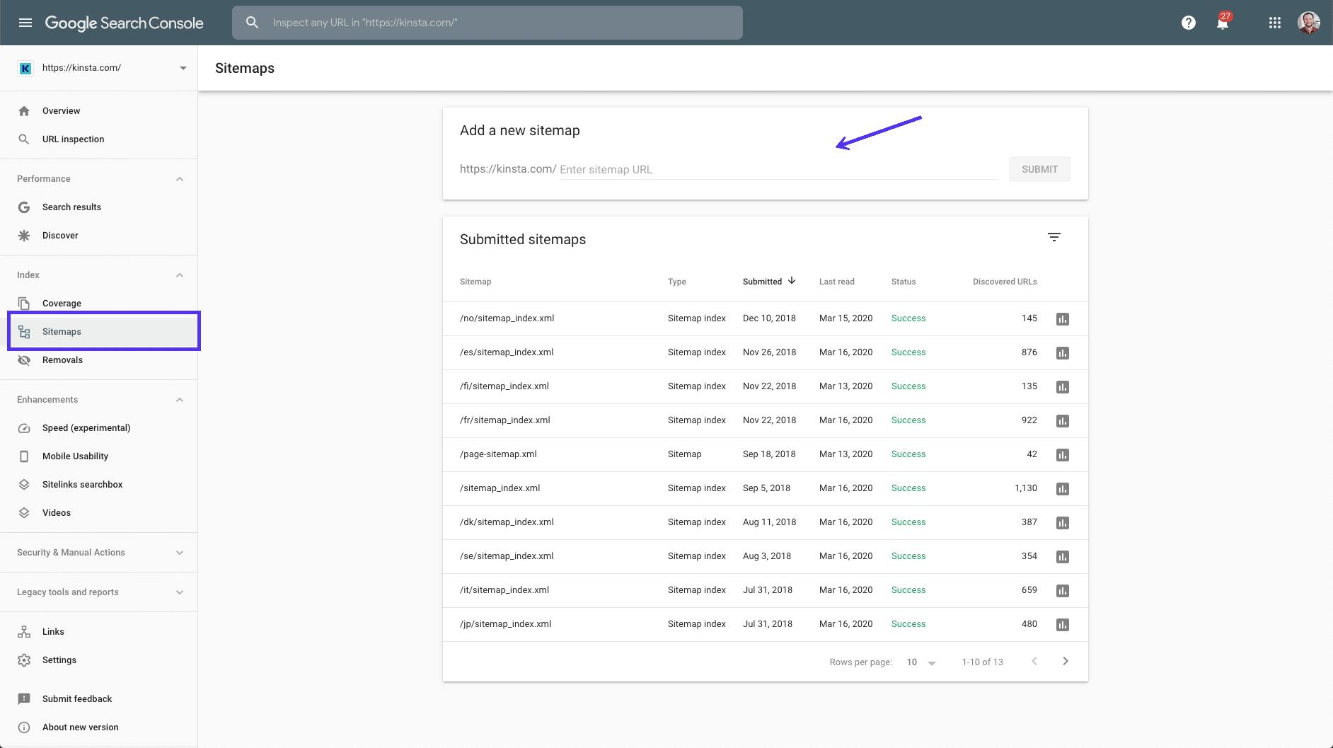 Übermitteln einer Sitemap an die Google Search Console