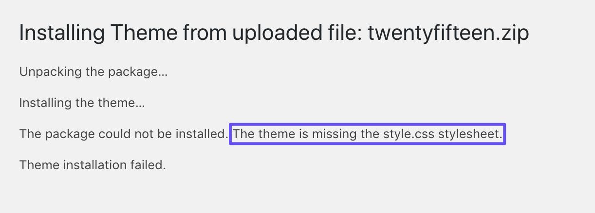 Eine fehlgeschlagene Themeninstallation aufgrund eines fehlenden Stylesheets