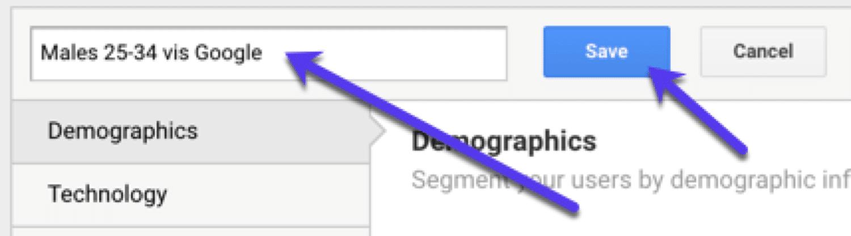 Vergesse nicht, dein benutzerdefiniertes Segment zu speichern