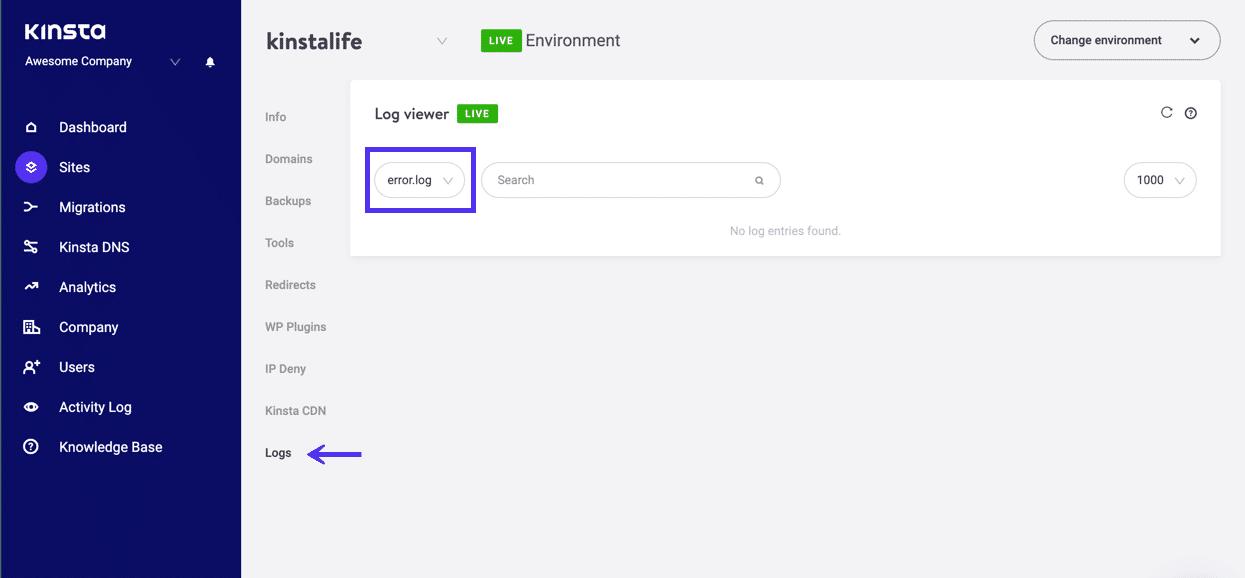 Anzeige von Server-Protokollen im MyKinsta-Dashboard