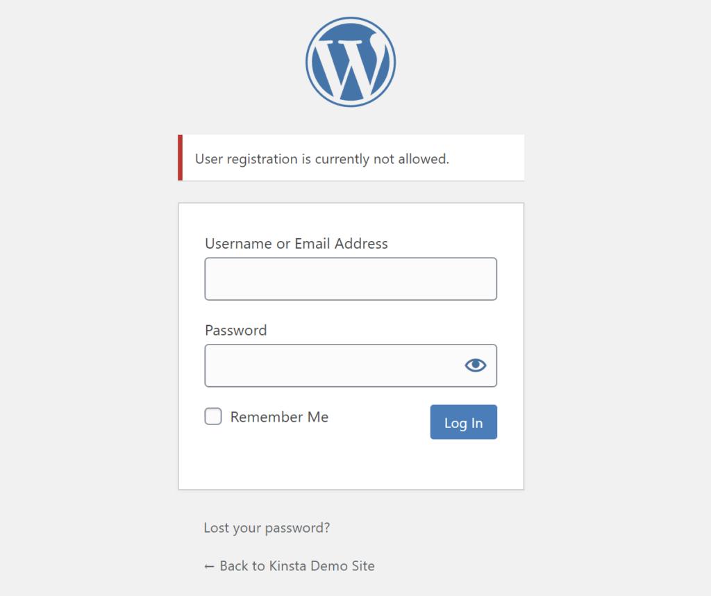 Ein Beispiel für die deaktivierte Registrierung