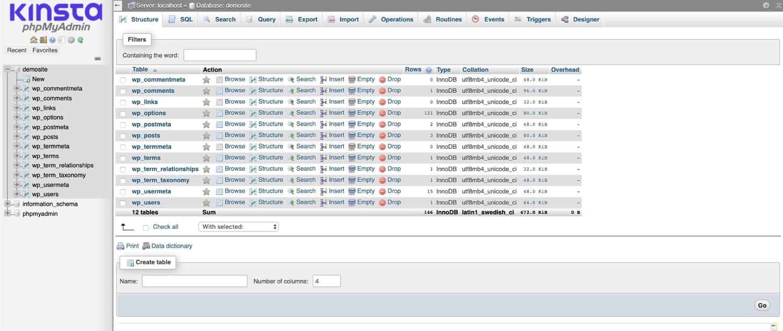 Datenbankstruktur in phpMyAdmin