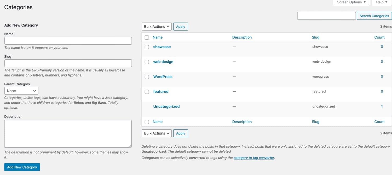 Kategorien-Bearbeitungsbildschirm