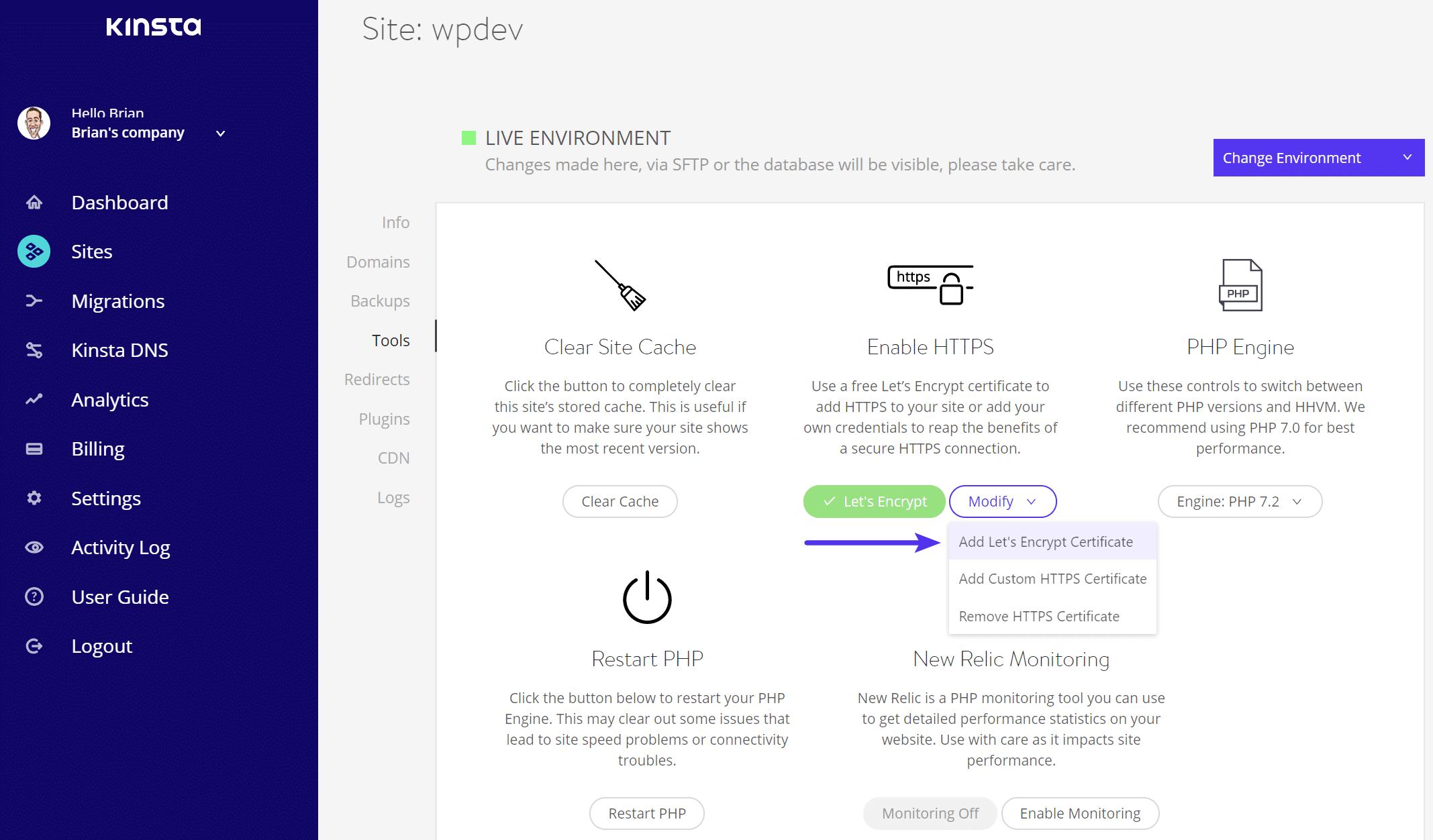 Let's Encrypt-Zertifikat hinzufügen