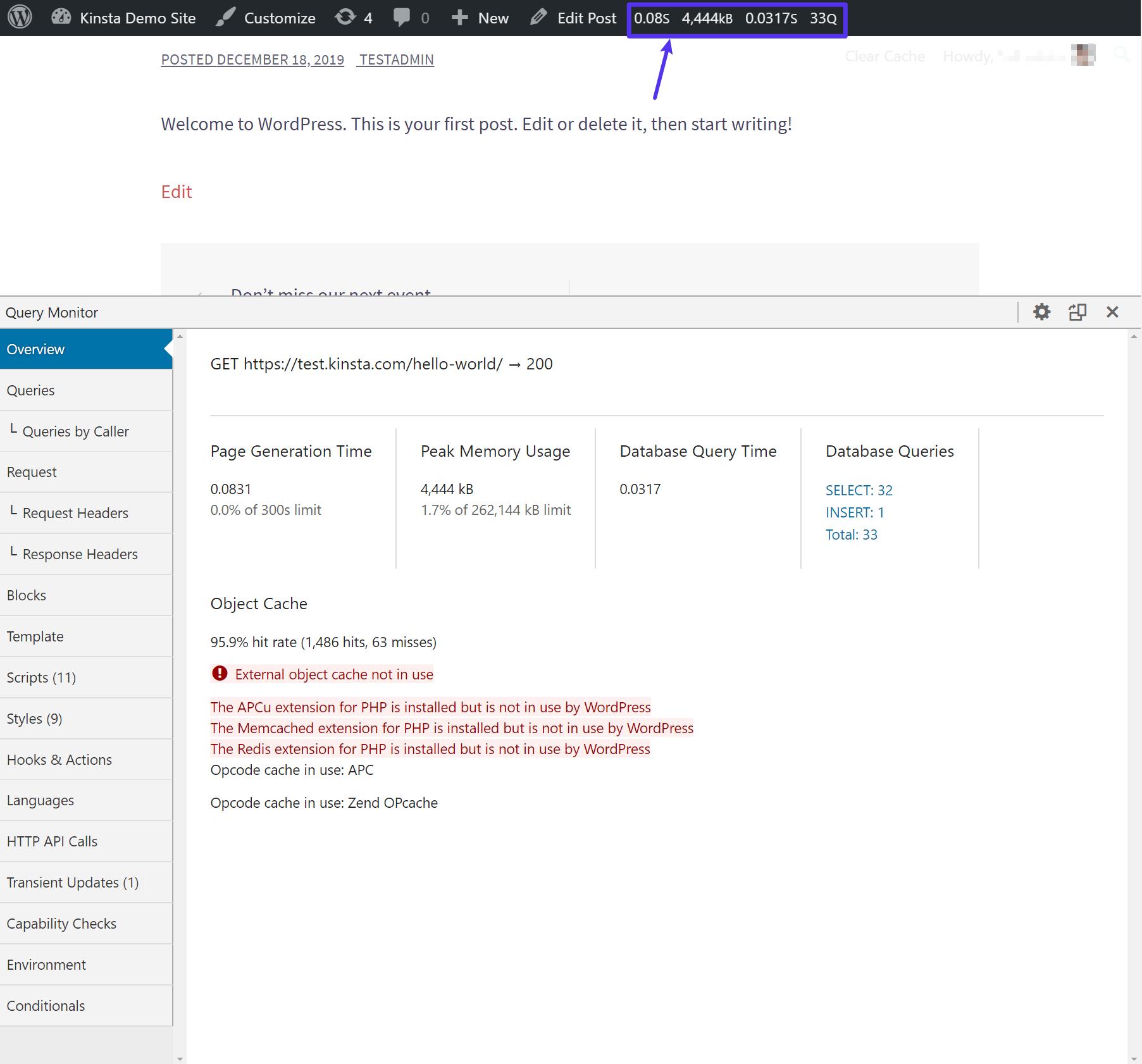 Das Query Monitor Plugin
