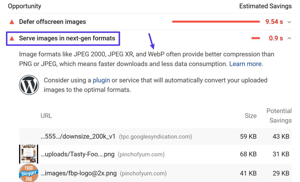 Google PageSpeed Insights schlägt vor, WebP-Bilder zu verwenden