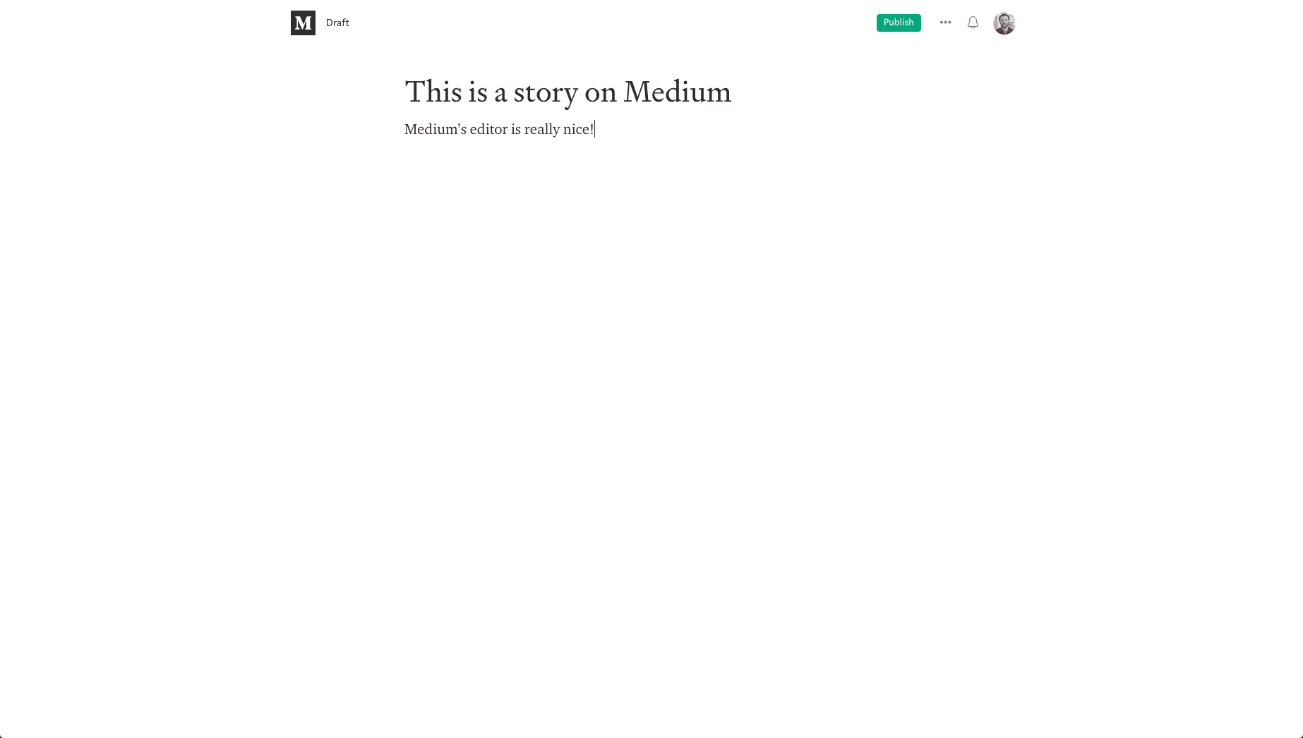 Schreiben auf Medium