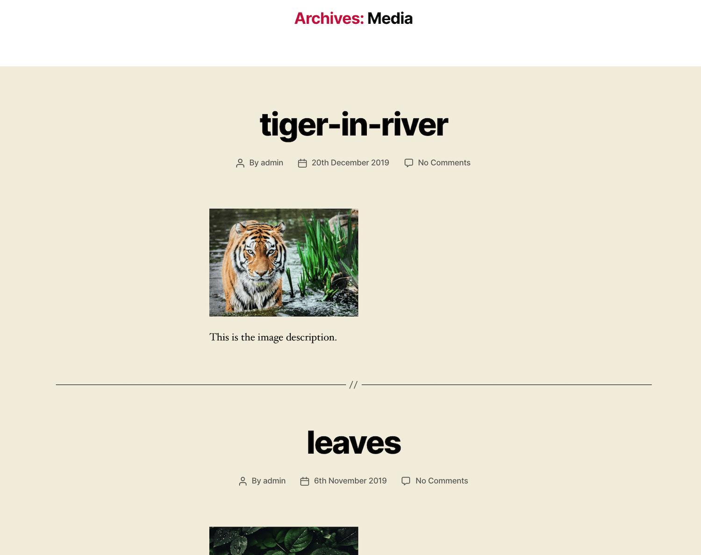 WordPress Medien-Archiv