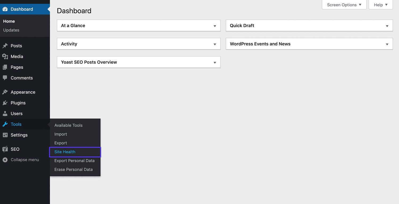 Zugriff auf das Website Health Tool in WordPress.