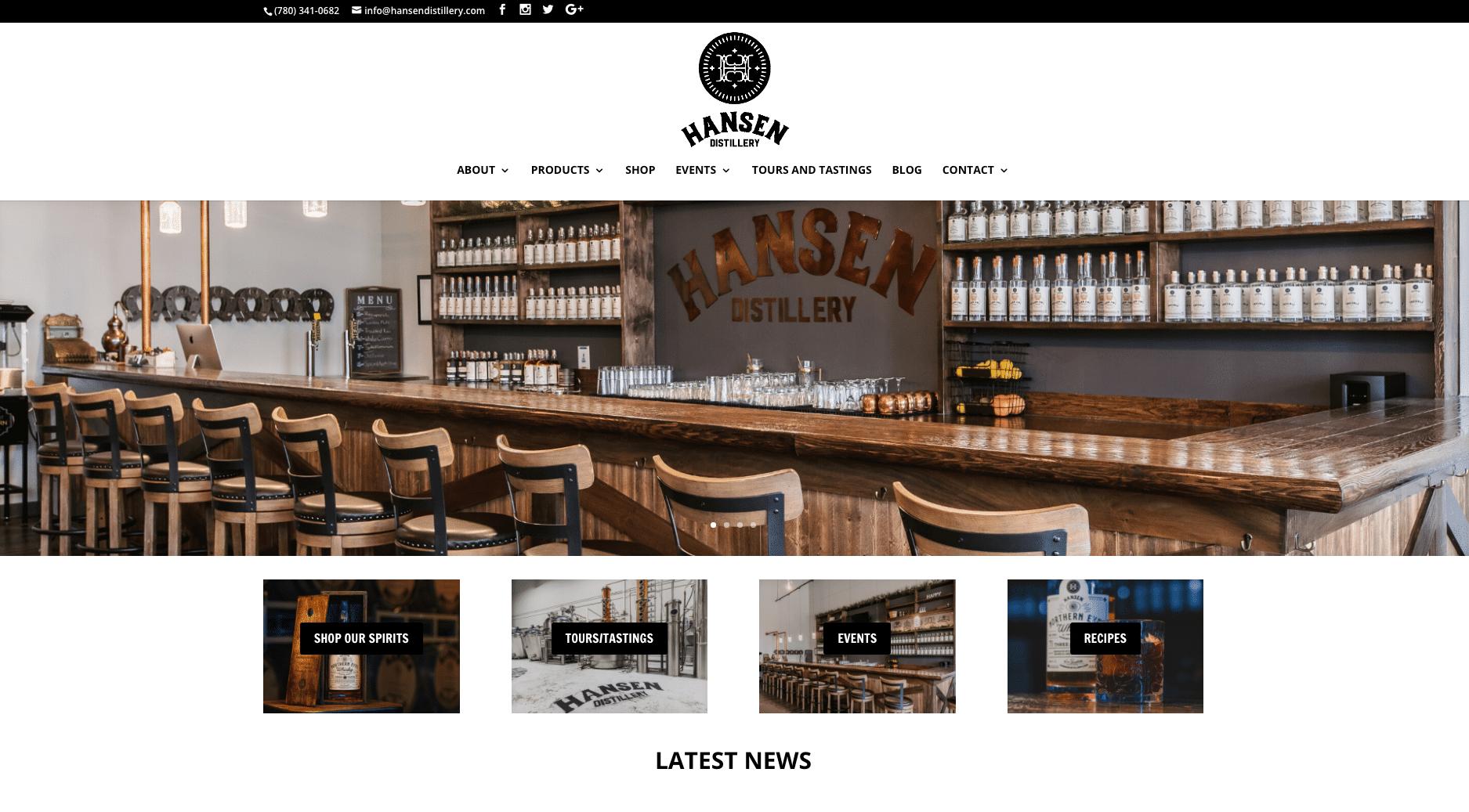 Hansen Distillery, Spirituosen und Veranstaltungsort