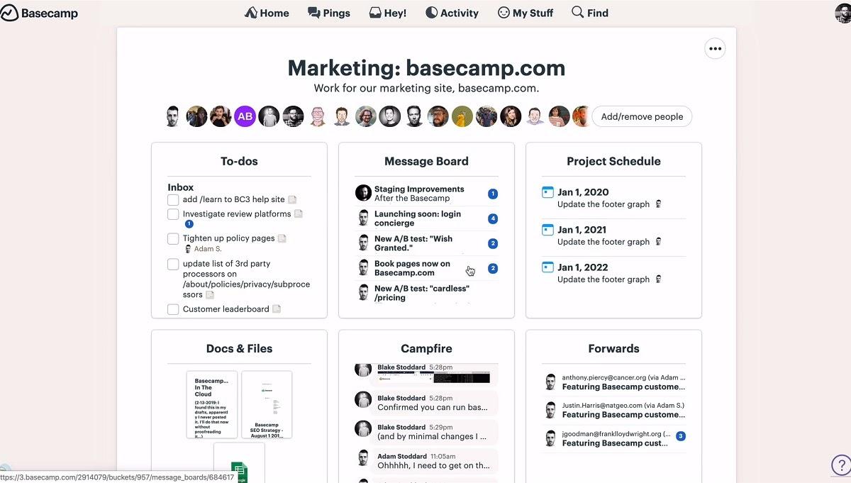 Basecamp-Team-Ansicht