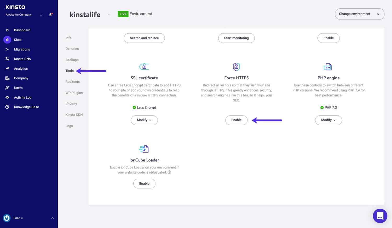 Erzwinge HTTPS-Werkzeug in MyKinsta.