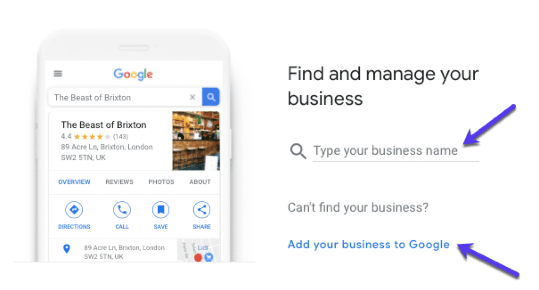 Finde dein Geschäft auf GMB