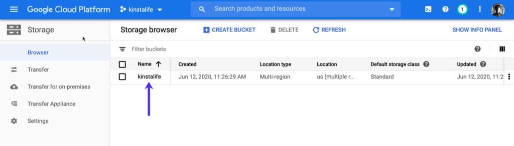 Finde deinen Bucket-Namen im Speicher-Browser von GCP.