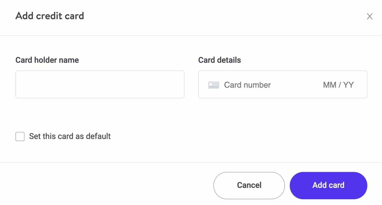 Füge deine Kreditkarte hinzu.