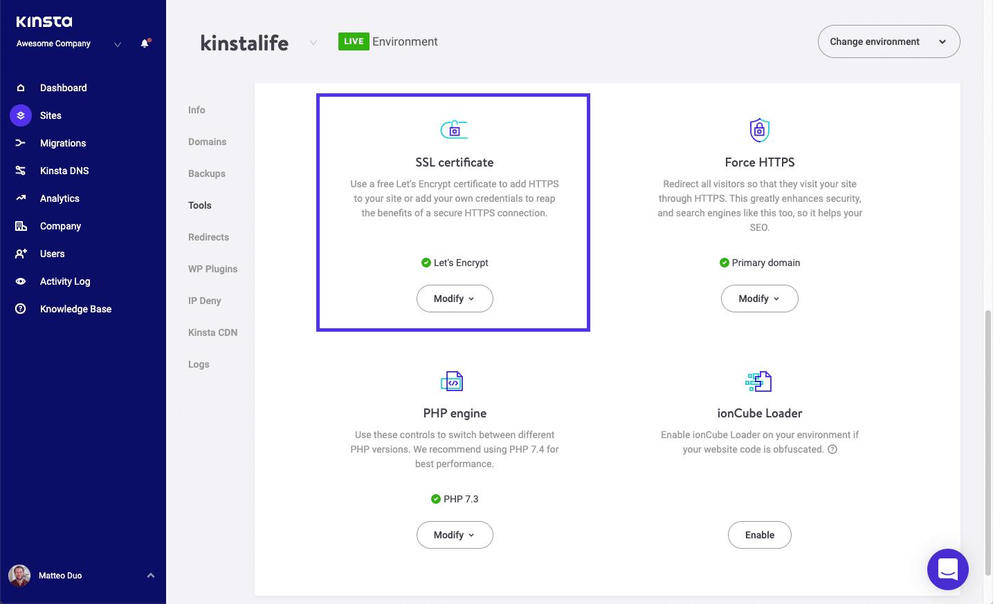MyKinsta Tool zum Aktivieren des SSL-Zertifikats