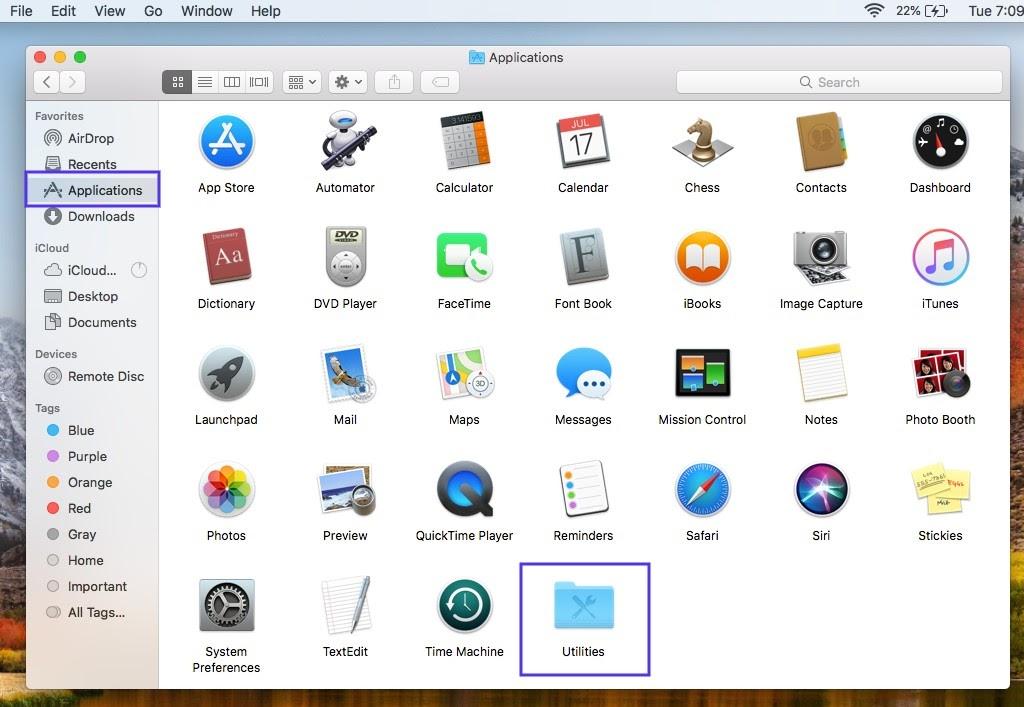 Das Programmfenster auf einem Mac