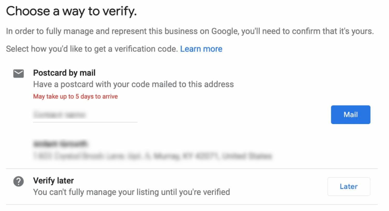 Wähle eine Methode, um deinen Eintrag zu verifizieren (sehr wichtiger Schritt)
