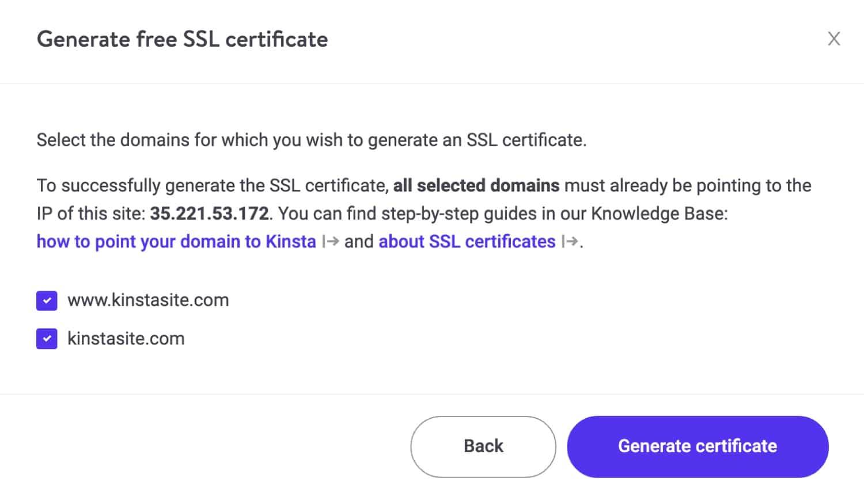 Wähle die SSL Domains.