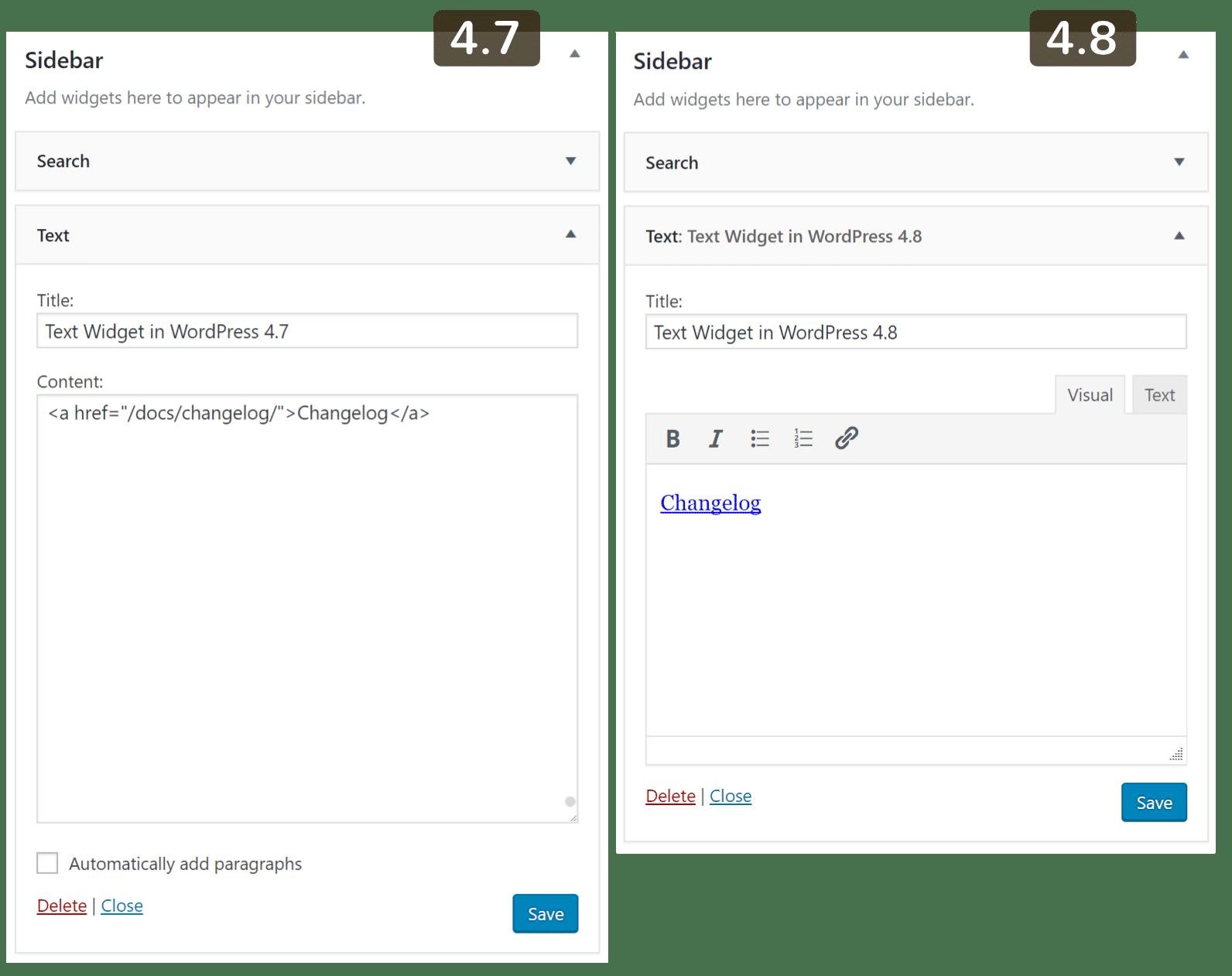 WordPress 4.8 visueller Editor für Widgets