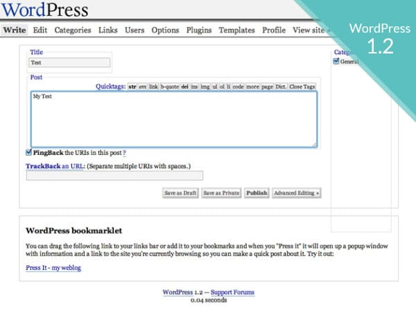 WordPress history version 1.2
