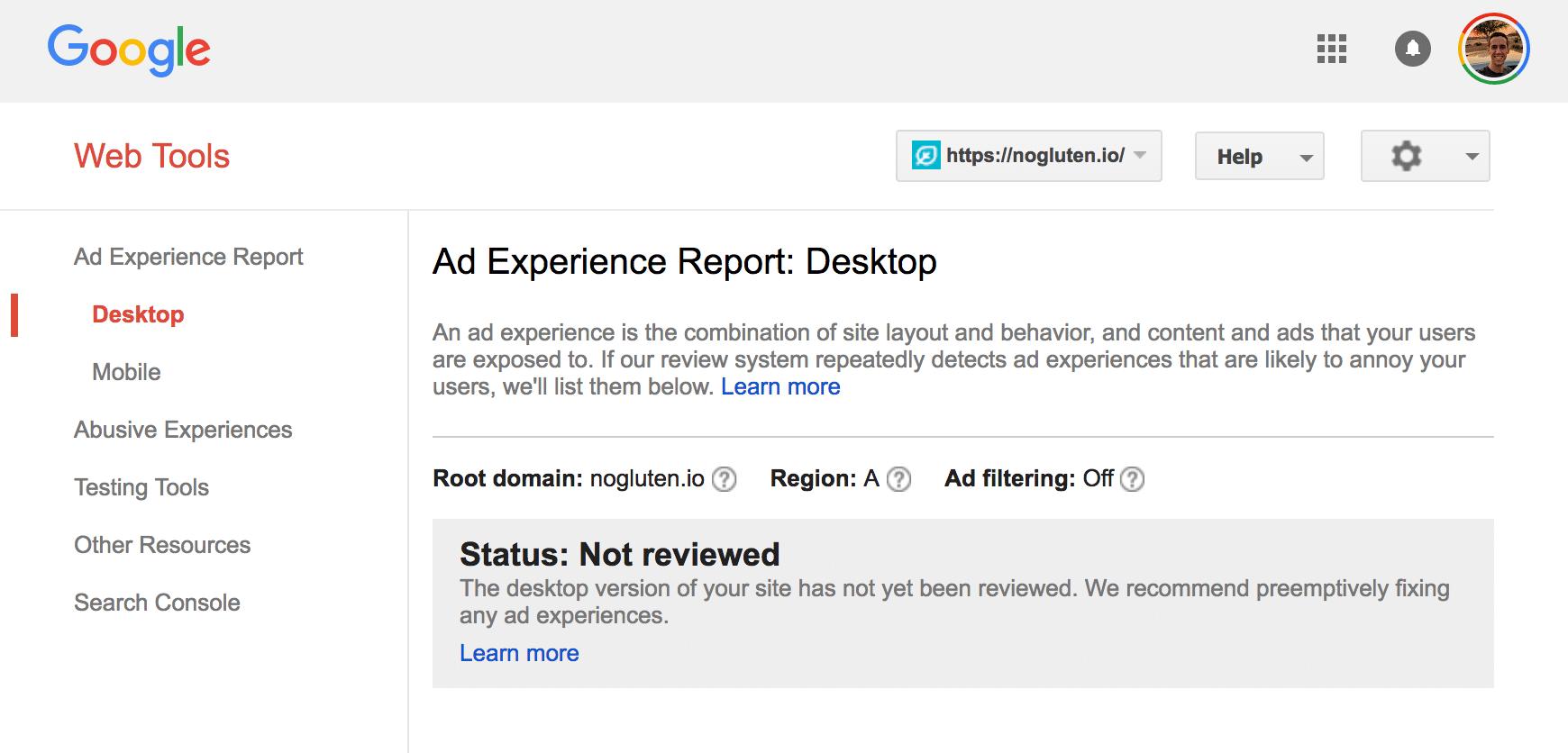 Ad Experience Report nicht überprüft